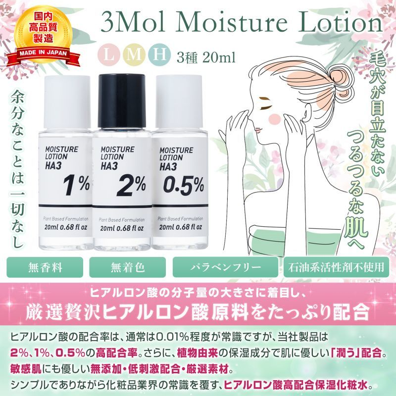 Photo1: [Free Shipping by Registered Airmail] 3Mol Moisture Lotion * 2 Set  (1)